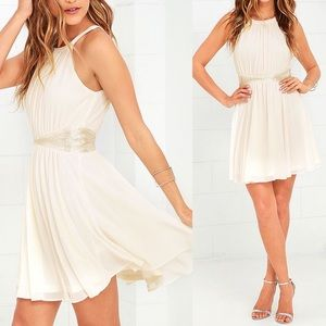 One More Night Cream Beaded Dress NWT